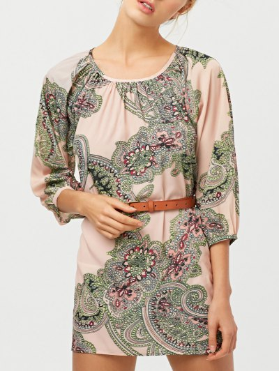 Lantern Sleeve Belted Paisley Dress - APRICOT XL Mobile