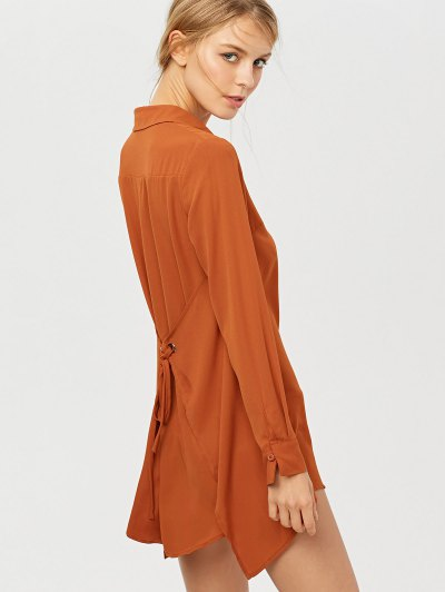 Self Tie Long Sleeve Shirt Dress - BROWN XS Mobile
