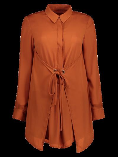 Self Tie Long Sleeve Shirt Dress - BROWN S Mobile