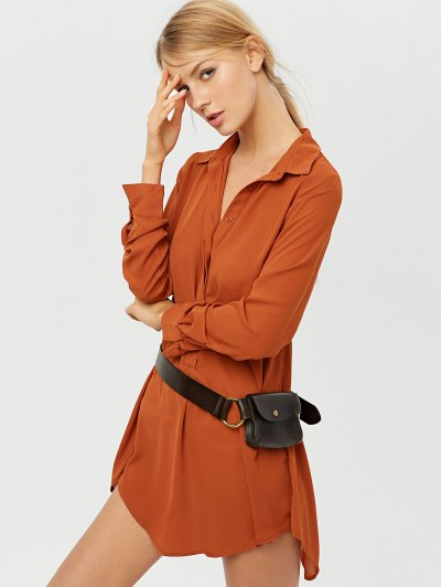 Self Tie Long Sleeve Shirt Dress - BROWN L Mobile