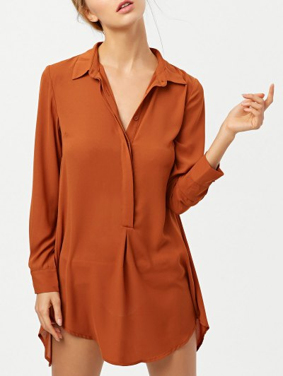 Self Tie Long Sleeve Shirt Dress - BROWN 2XL Mobile