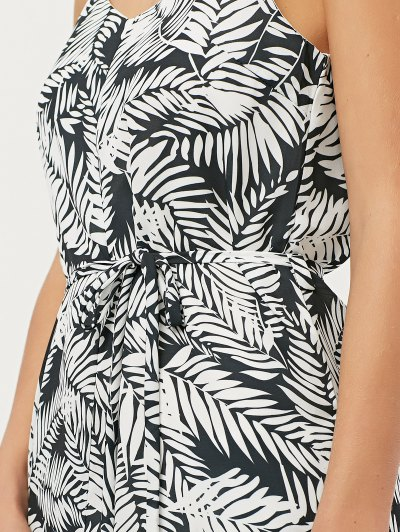 Tropical Print High Low Cami Dress - FLORAL 2XL Mobile