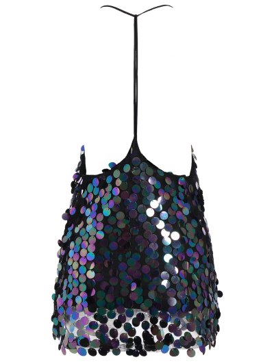 Sequins V Neck Y Back Slip Mini Dress - BLACK M Mobile