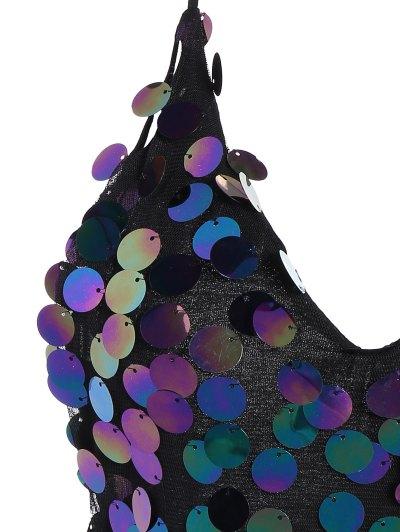 Sequins V Neck Y Back Slip Mini Dress - BLACK L Mobile