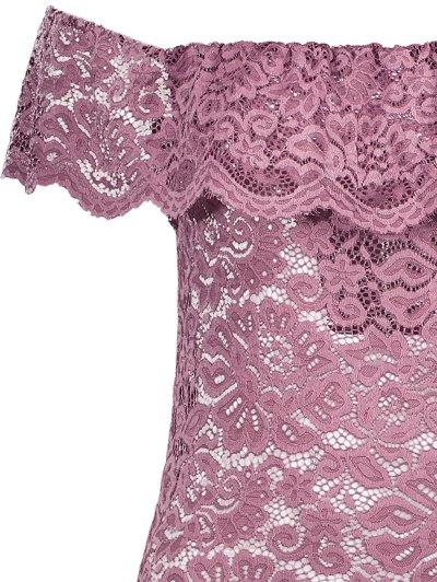 Off Shoulder Flounced Lace Bodysuit - BEGONIA L Mobile