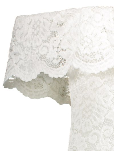 Off Shoulder Flounced Lace Bodysuit - WHITE S Mobile
