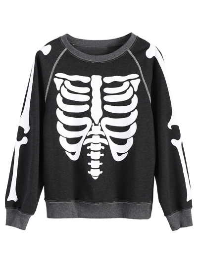Loose Skeleton Sweatshirt - BLACK M Mobile