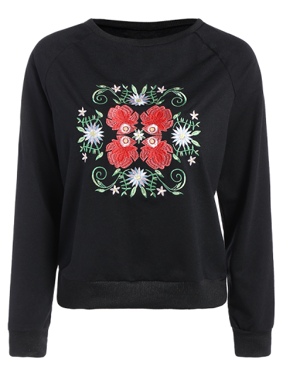 Floral Embroidered Tunic Sweatshirt - BLACK S Mobile