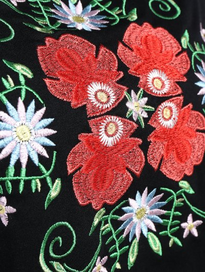 Floral Embroidered Tunic Sweatshirt - BLACK L Mobile