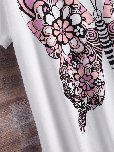 Butterfly Print Fringe T-Shirt - WHITE M Mobile