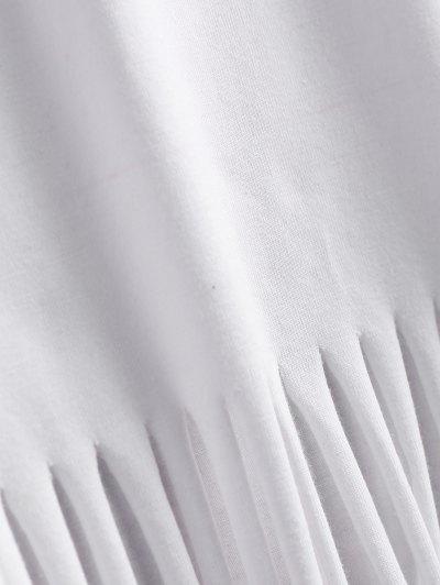 Butterfly Print Fringe T-Shirt - WHITE L Mobile