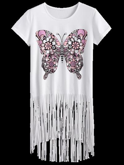 Butterfly Print Fringe T-Shirt - WHITE XL Mobile