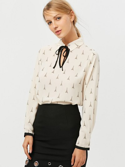 Eiffel Tower Print High Low Blouse - OFF-WHITE XS Mobile