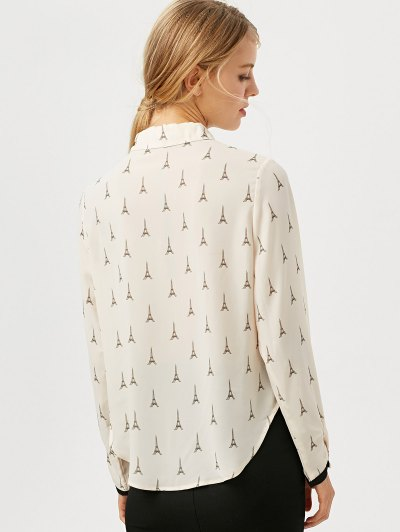 Eiffel Tower Print High Low Blouse - OFF-WHITE S Mobile