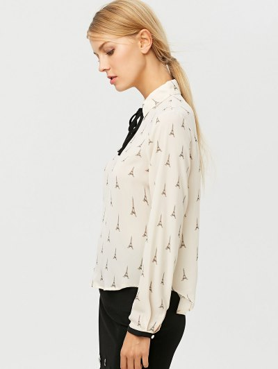 Eiffel Tower Print High Low Blouse - OFF-WHITE L Mobile