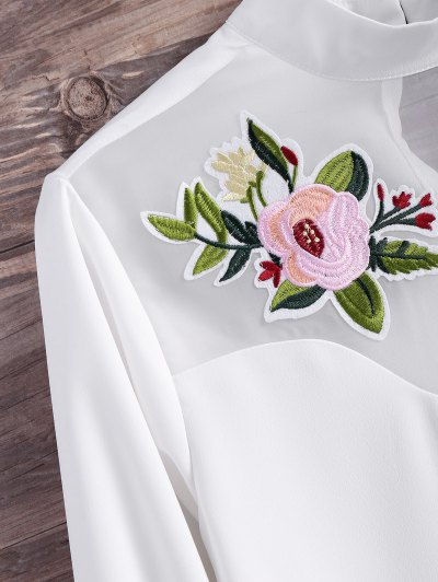 Mesh Panel Floral Embroidered Blouse - WHITE M Mobile