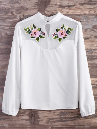 Mesh Panel Floral Embroidered Blouse - WHITE L Mobile