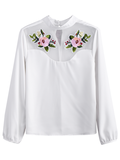 Mesh Panel Floral Embroidered Blouse - WHITE 2XL Mobile
