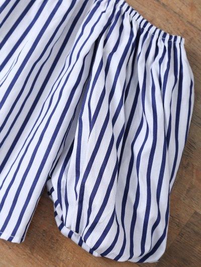 Striped Off Shoulder Choker Blouse - STRIPE M Mobile
