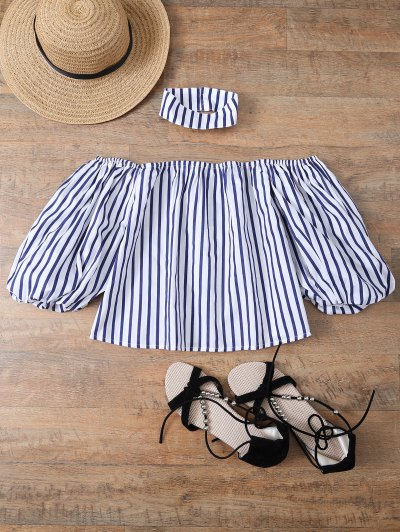 Striped Off Shoulder Choker Blouse - STRIPE L Mobile