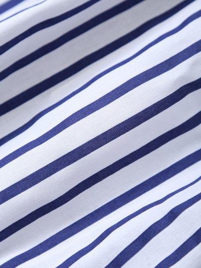 Striped Off Shoulder Choker Blouse - STRIPE XL Mobile