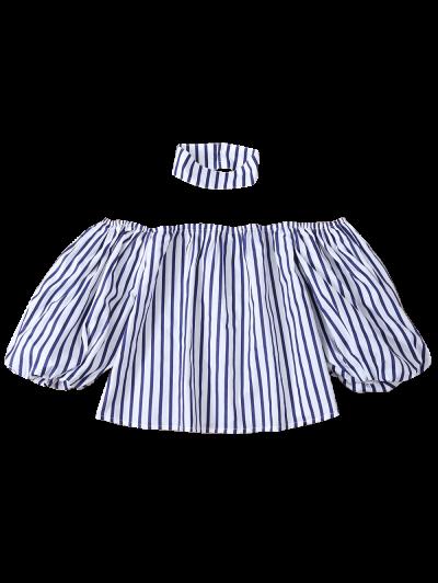 Striped Off Shoulder Choker Blouse - STRIPE 2XL Mobile