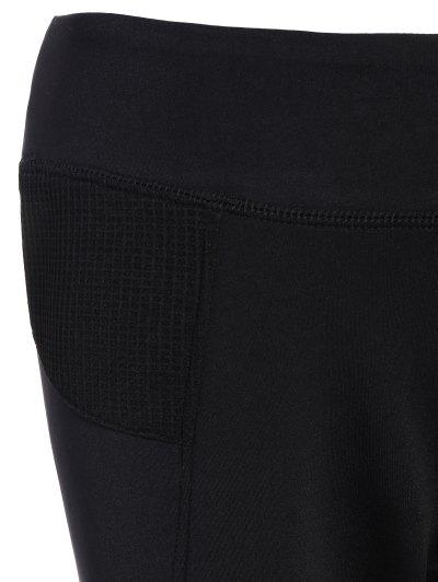 Mesh Insert Capri Leggings - BLACK S Mobile