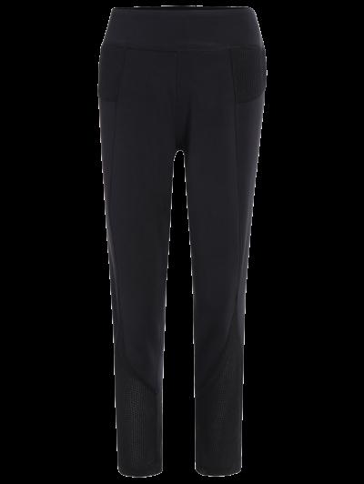 Mesh Insert Capri Leggings - BLACK L Mobile
