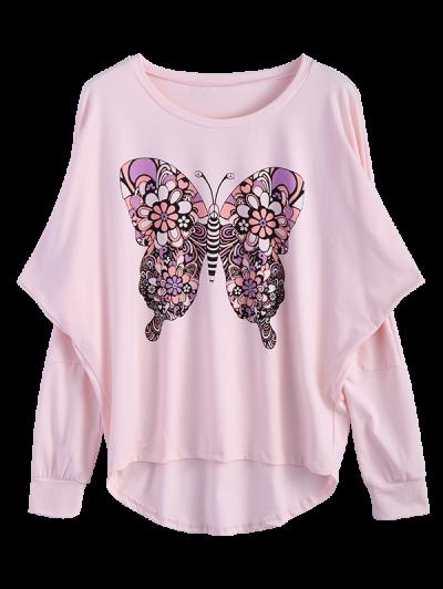 Butterfly Print Scoop Neck Longline Tee - PINK M Mobile