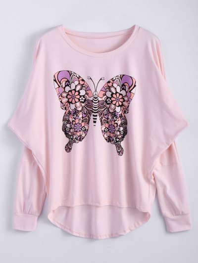 Butterfly Print Scoop Neck Longline Tee - PINK L Mobile