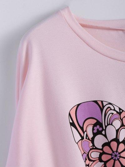 Butterfly Print Scoop Neck Longline Tee - PINK XL Mobile