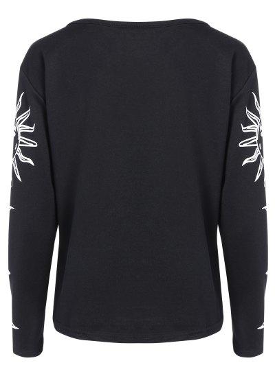 Sun Print Long Sleeve T-Shirt - BLACK S Mobile