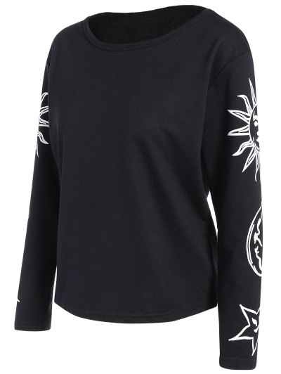 Sun Print Long Sleeve T-Shirt - BLACK M Mobile
