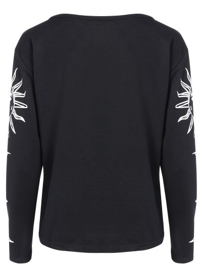 Sun Print Long Sleeve T-Shirt - BLACK XL Mobile