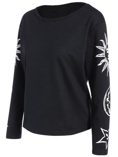 Sun Print Long Sleeve T-Shirt - BLACK 2XL Mobile