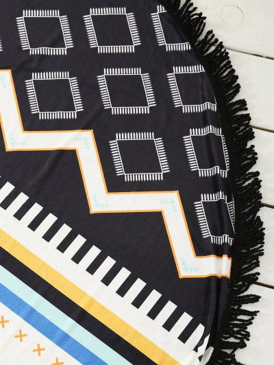 Geometric Print Tassel Sarong Beach Throw - COLORMIX ONE SIZE Mobile