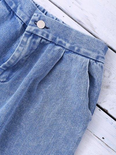Ombre Wide Leg Jeans - BLUE S Mobile