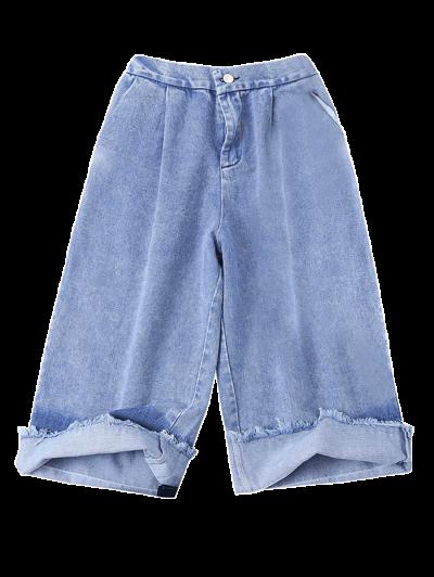 Ombre Wide Leg Jeans - BLUE L Mobile