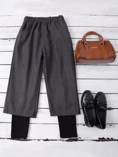 Elastic Waist Layered Wide Leg Pants - DEEP GRAY S Mobile
