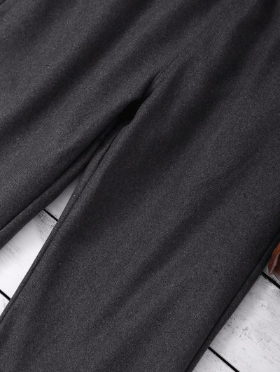 Elastic Waist Layered Wide Leg Pants - DEEP GRAY M Mobile