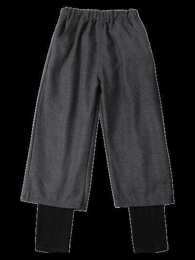 Elastic Waist Layered Wide Leg Pants - DEEP GRAY L Mobile