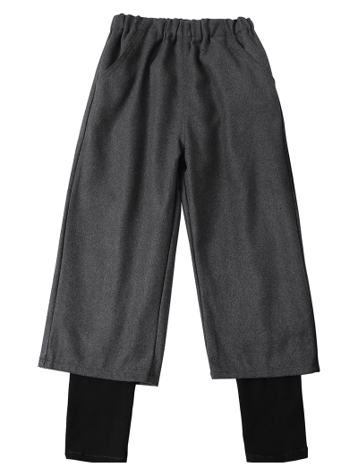 Elastic Waist Layered Wide Leg Pants - DEEP GRAY 2XL Mobile
