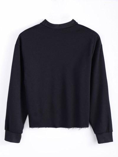 Mock Neck Oversized Letter Print Sweatshirt - BLACK M Mobile