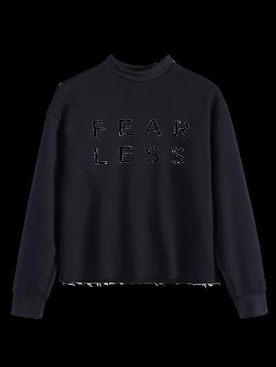 Mock Neck Oversized Letter Print Sweatshirt - BLACK L Mobile