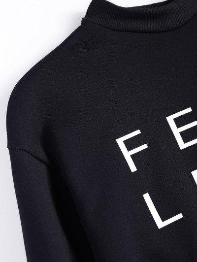 Mock Neck Oversized Letter Print Sweatshirt - BLACK XL Mobile
