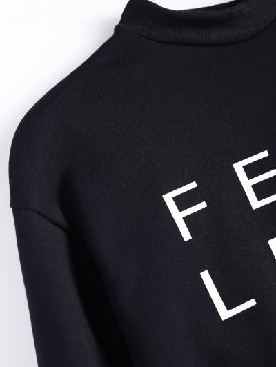 Mock Neck Oversized Letter Print Sweatshirt - BLACK 2XL Mobile