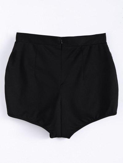 High Waist Beading Shorts - BLACK M Mobile