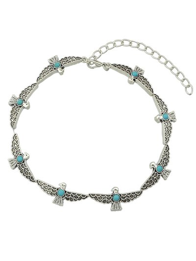 Faux Turquoise Bird Choker - SILVER  Mobile
