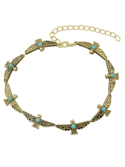 Faux Turquoise Bird Choker - GOLDEN  Mobile