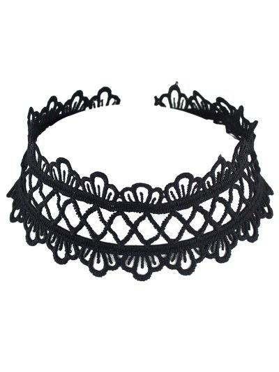 Hollowed Wide Lace Choker - BLACK  Mobile